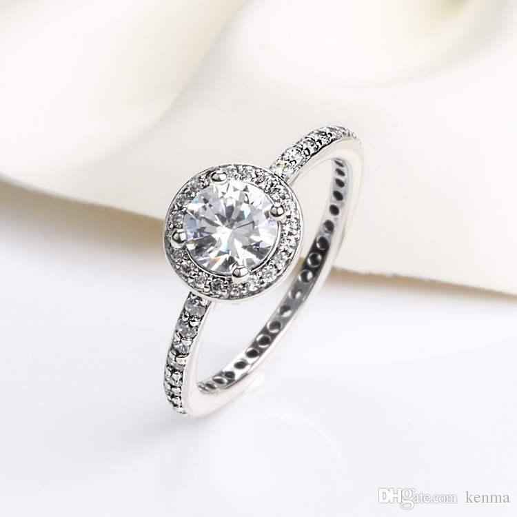 Real Solid 925 Sterling Silver Rings Cz Diamond Ring With Logo And Original Box Fits Pandora Style Wedding Ring Engagement Jewelry For Women White Gold Wedding Bands Affordable Engagement Rings From Kenma