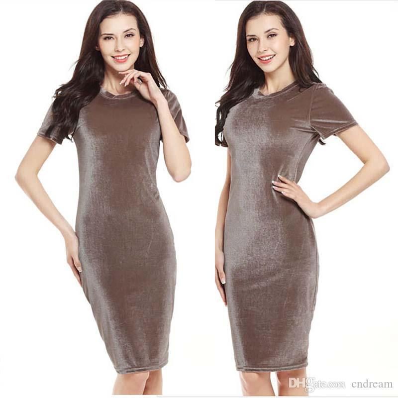 Solid Crew pescoço Bodycon Vestido saia lápis manga curta vestido midi verão mulheres vestidos de mulher roupas 220270