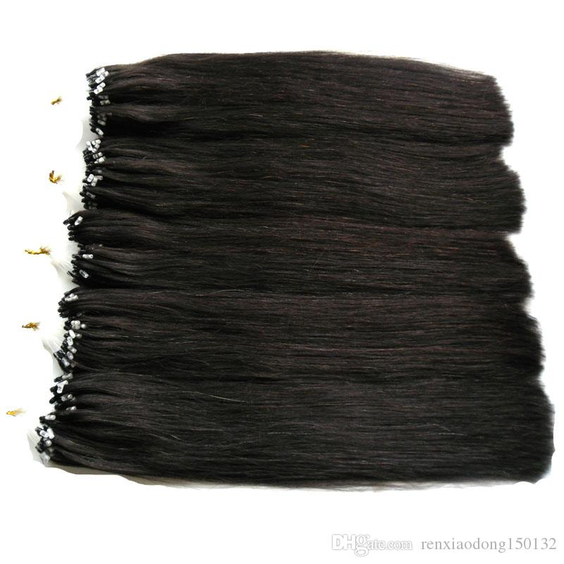 Micro Ring Loop Hair Extensions 100% Real Human Hair 100G Remy Brazilian Straight Loop Micro Ring Human Hair Extensions