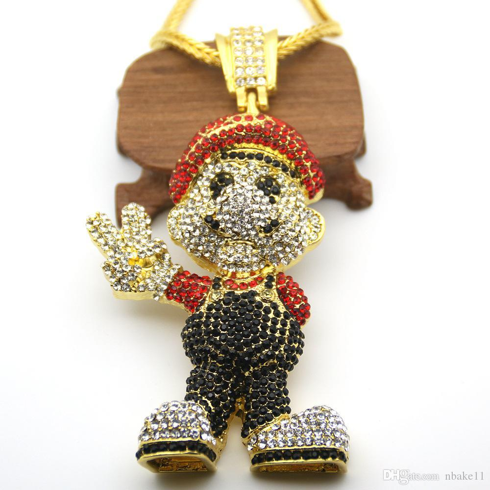 2018/19 JewelryStore999 2017 hot New Gold Lage Size Cartoon Game pendant Hiphop Necklace Jewelry Bling Bling Iced Out Jewelry Drop Shipping