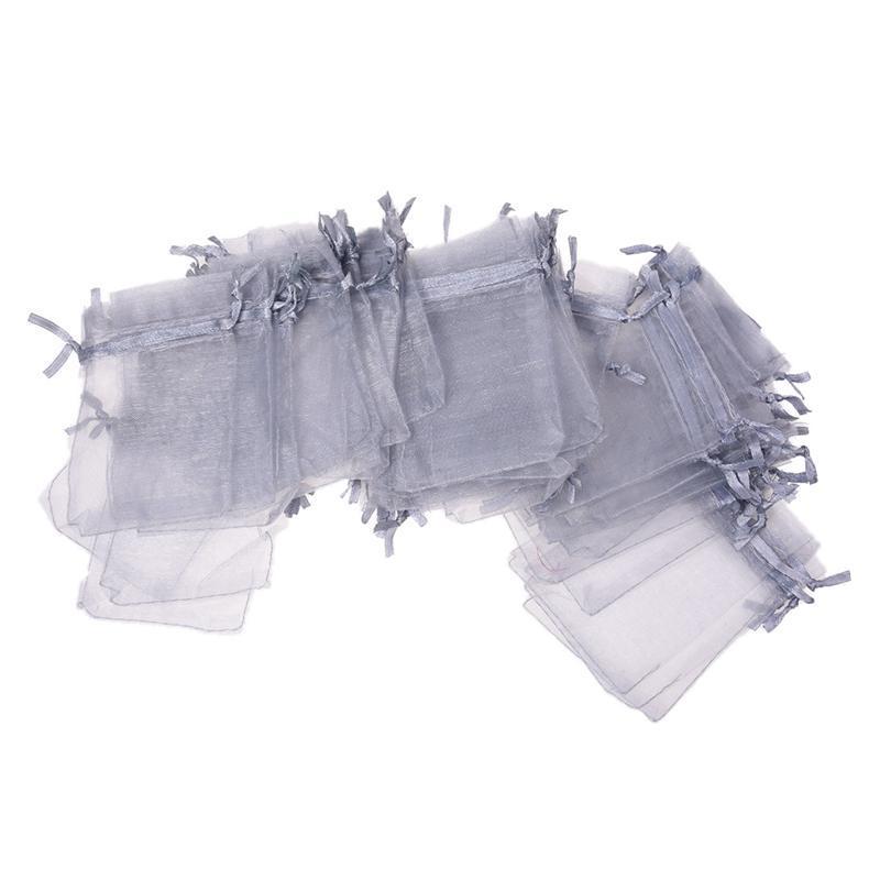 100 Grey Organza Gift Wedding Favors Bag Pouch 90x70mm HOT