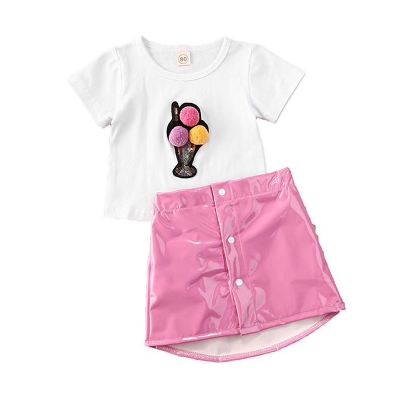 Verano Nuevas linda del niño de los bebés ropa de manga corta 3D Ice Cream Imprimir Camisetas Tops + Pink PU Faldas Trajes Set 2pcs