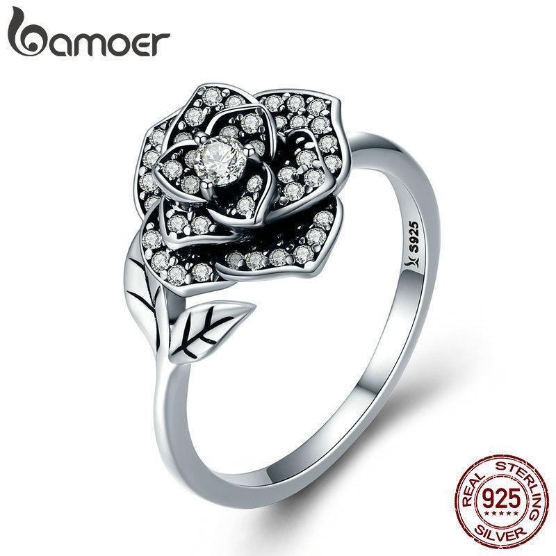 BAMOER 100% 925 anillos de dedo de plata esterlina Rosa Flor deslumbrante hoja del árbol de la CZ de la joyería del contrato de boda regalo de las mujeres SCR382 CX200611