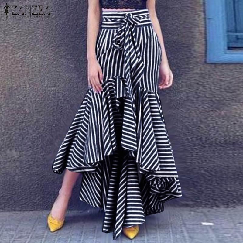 2020 Stylish Women Striped Skirts Zanzea Spring High Waist Asymmetrical Hem Skirts Casual High Low Ruffles Skirt Faldas Mujer Jupe From Ferdinand07 16 65 Dhgate Com