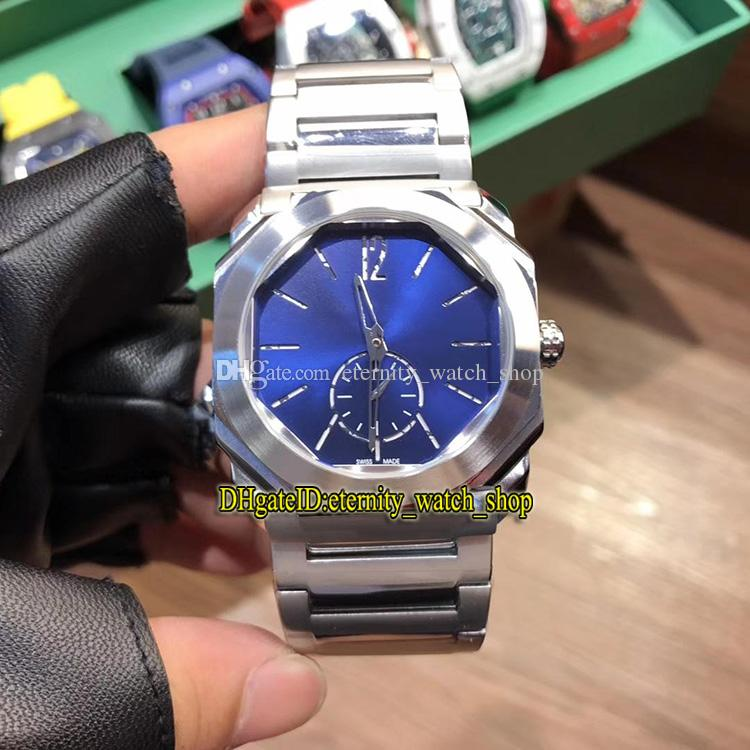 Hohe Qualität New Octo Finissimo 102559 Blau Dial Japan VK Quarz-Uhrwerk Herrenuhr 316L Edelstahl Gehäuse 316L Steel Band Sportuhren