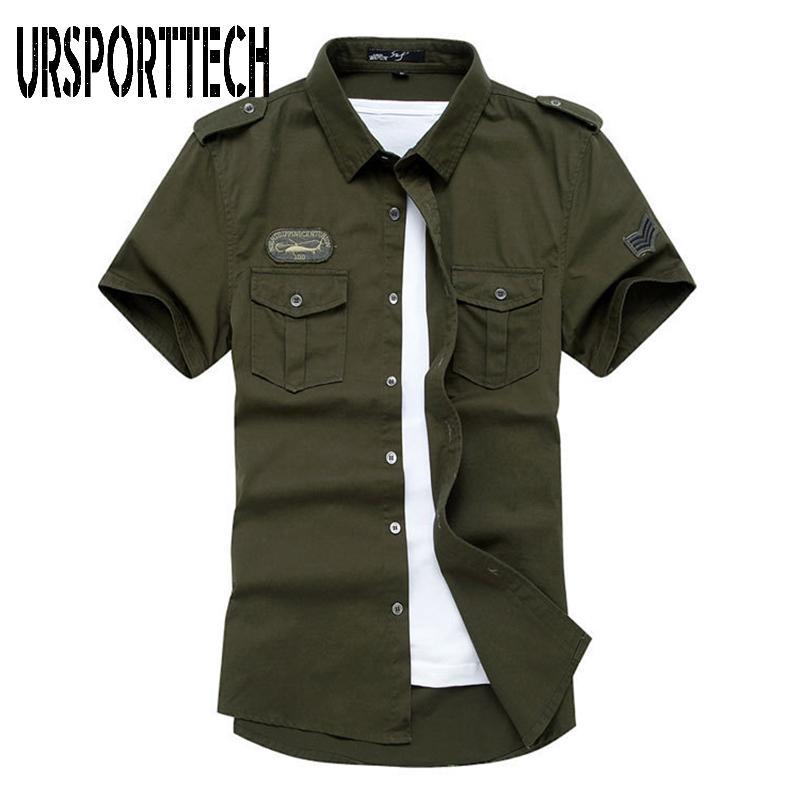 Das Hemd der Männer 2020 neue Art und Weise Männer Fracht Hemd Sommer 100% Baumwolle Damen-Shirts Männer Solide Tactical Plus Size M-4XL
