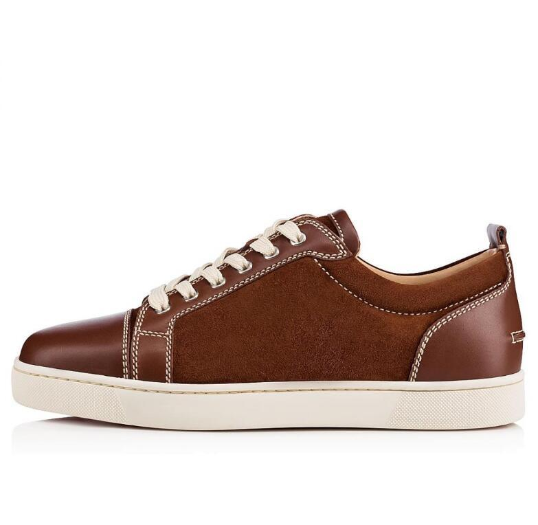 Ultra-comfor low-top junior casual shoes, Famous Red Bottom SneakerShoes patchwork suede&leather Skateboarding Walking