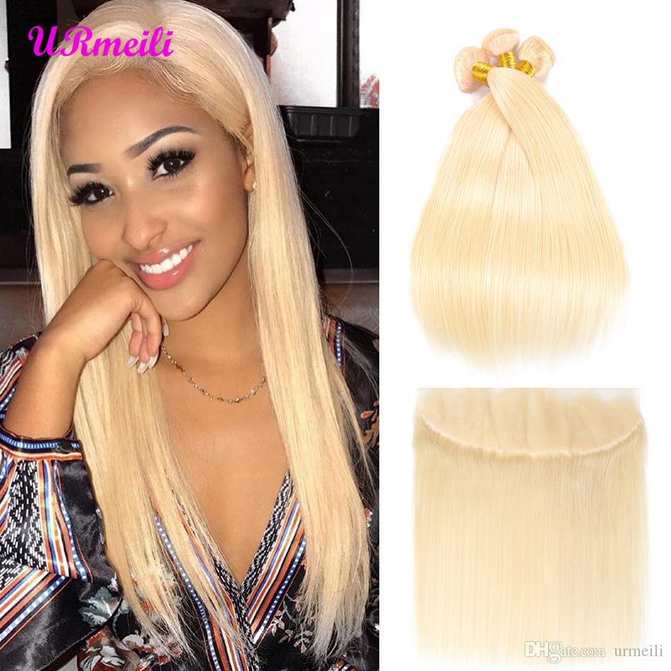 Brazilian Hair Weave Bundles 613 Blonde Bundles With Closure Brazilian Straight Virgin Hair dhgate human hair 3/4 bundles with closure