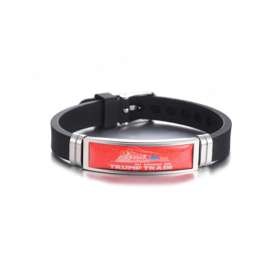 Adult Trump train Bracelet 2020 US Amérique du président Election Trump Bracelet en silicone coloré en acier inoxydable Bracelets bracelet LJJA4103