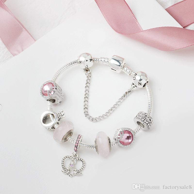 Pandora pulseira de vidro novo grande talão pulseira liga de prata série rosa amor pássaro pingente pulseira Frete grátis