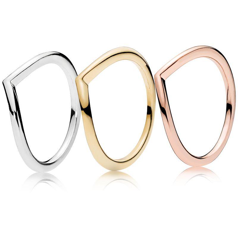 Polido ouro Wishbone Anel 18K amarelo banhado Anéis Original Box para Pandora prata 925 ouro sets mulheres anel de casamento