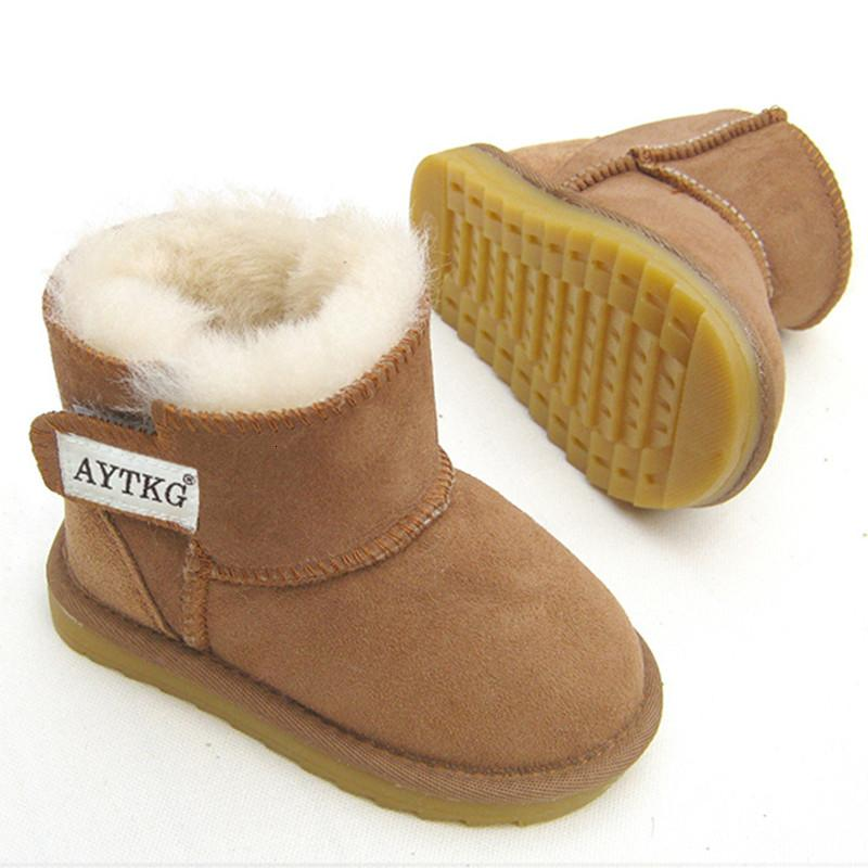Kids Boys Girls Snow Boots Fleece Fur Lined Waterproof Shoes Bootee Winter Warm