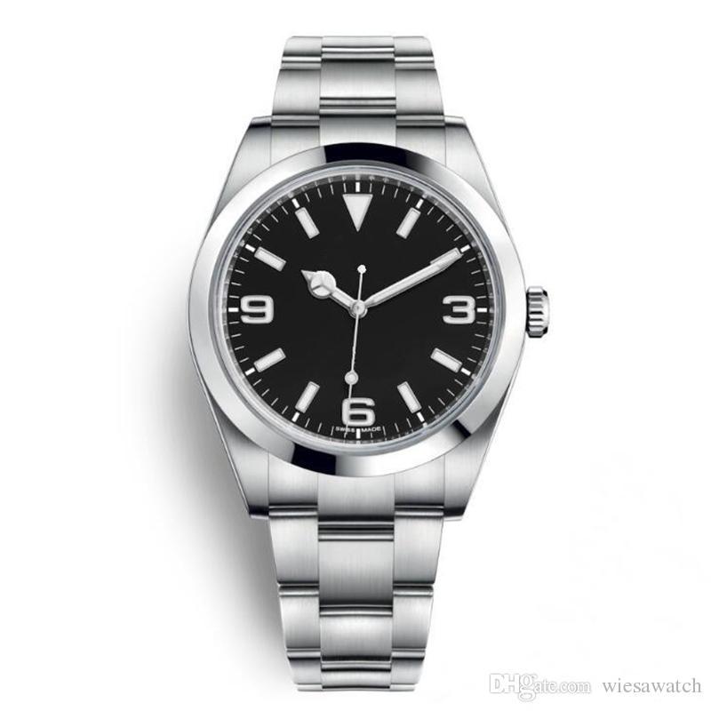 야외 40MM 자동 남성 시계 고정 돔형 스테인레스 스틸 베젤 사파이어와 시계와 외부 림 주위 분 마커