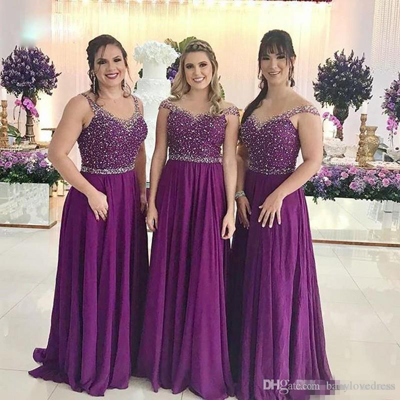 Compre Brillo De Lentejuelas Con Cuentas Púrpura Largo Damas De Honor Vestidos Ilusión Espalda Dama Honor Vestidos Una Línea Boda Huésped