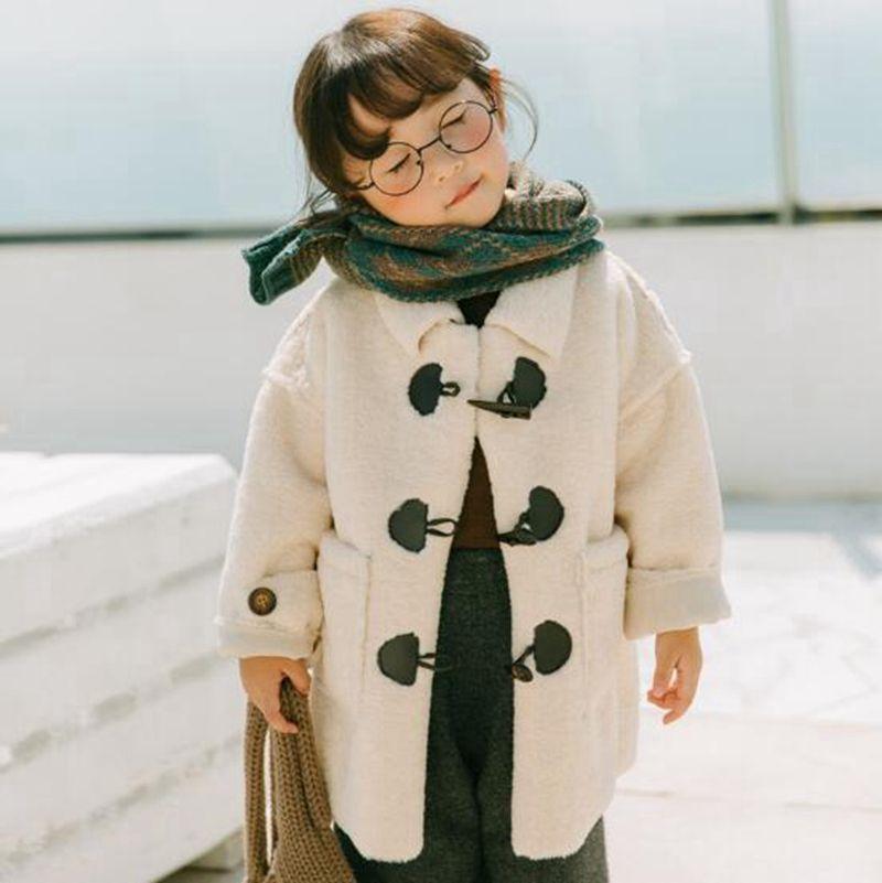 UK/_ FASHION KIDS GIRLS SOLID LONG SLEEVE BUTTONS OUTERWEAR WINTER WARM COAT NICE