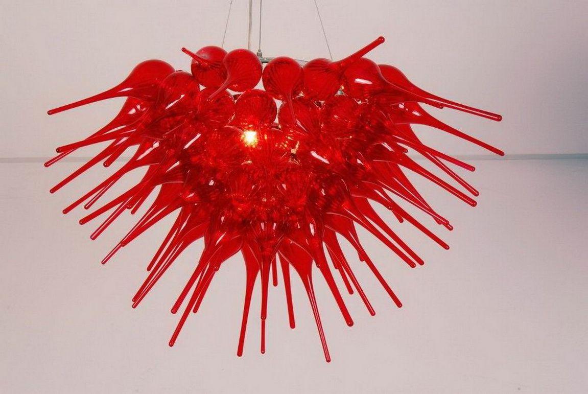 Frete grátis 100% soprado Borosilicate Red Chandelier fábrica moderna LED Light Fonte Nova Casa teto Lightss