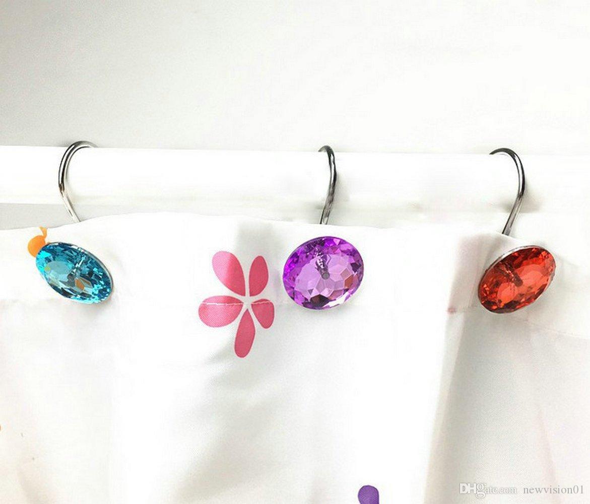 2019 Bling Rhinestones Shower Curtain Hooks Bathroom Rolling Hooks From Newvision01 11 05 Dhgate Com