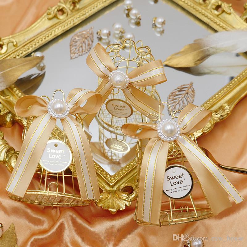 Bird Cage Candy Box Golden Metal Bird Cage коробки конфет венчания конфеты хранения Рождественский подарок Валентайн Favor