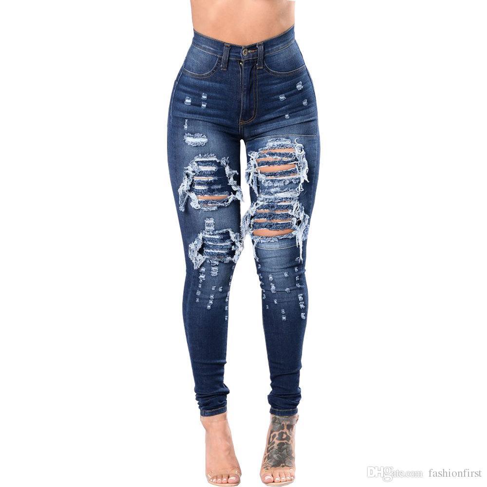 Ahuecados jeans stretch de talle alto-pantalones rasgados pantalones cortos vendedores calientes de los pantalones vaqueros flacos de las mujeres pantalones vaqueros mujeres precio barato