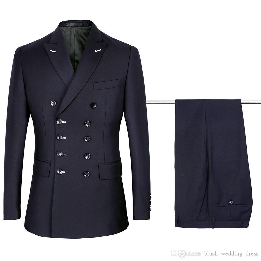 Terno trespassado Azul marinho Noivo Smoking Homens Wedding Blazer de alta qualidade Homens Jantar Prom Negócios (jaqueta + calça + TIE)