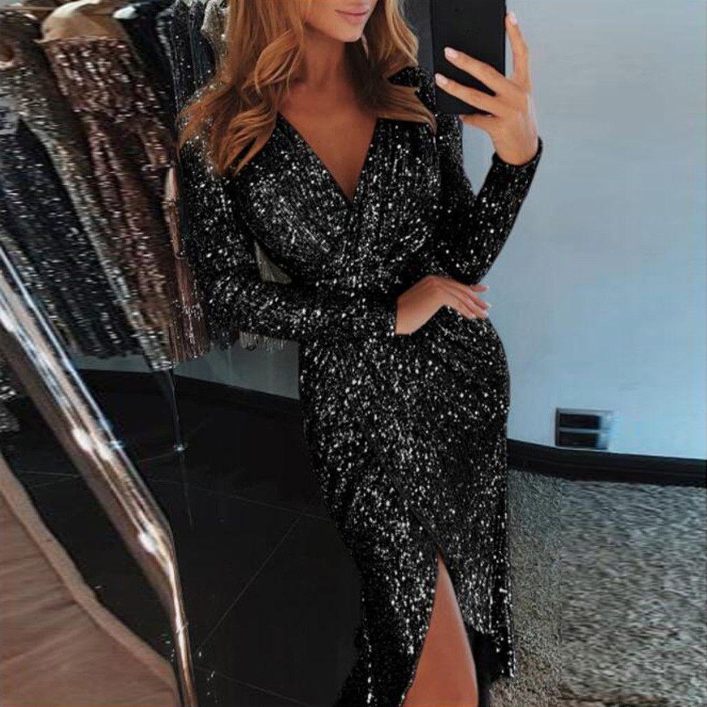 Las nuevas mujeres de moda visten las lentejuelas con cuello en V profundas con pliegues de manga larga con pliegues vestidos de discoteca más tamaño vestidos femininos party @ 35