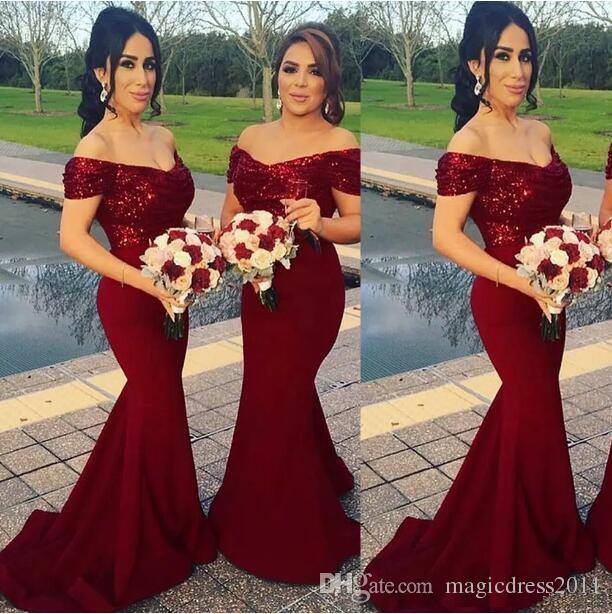 Compre Sirena Vino Rojo Vestidos De Dama De Honor Fuera Del Hombro Lentejuelas Sirena Corte Tren Bling Bling Vestidos De Dama De Honor Vestido Nupcial
