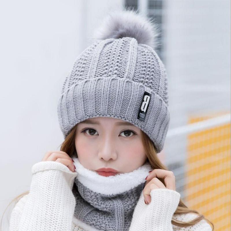 Neck warm knitted winter hat for women girl wool beanies Skullies letter B velvet hat mask Bonnet Femme Balaclava scarf hat S18120302