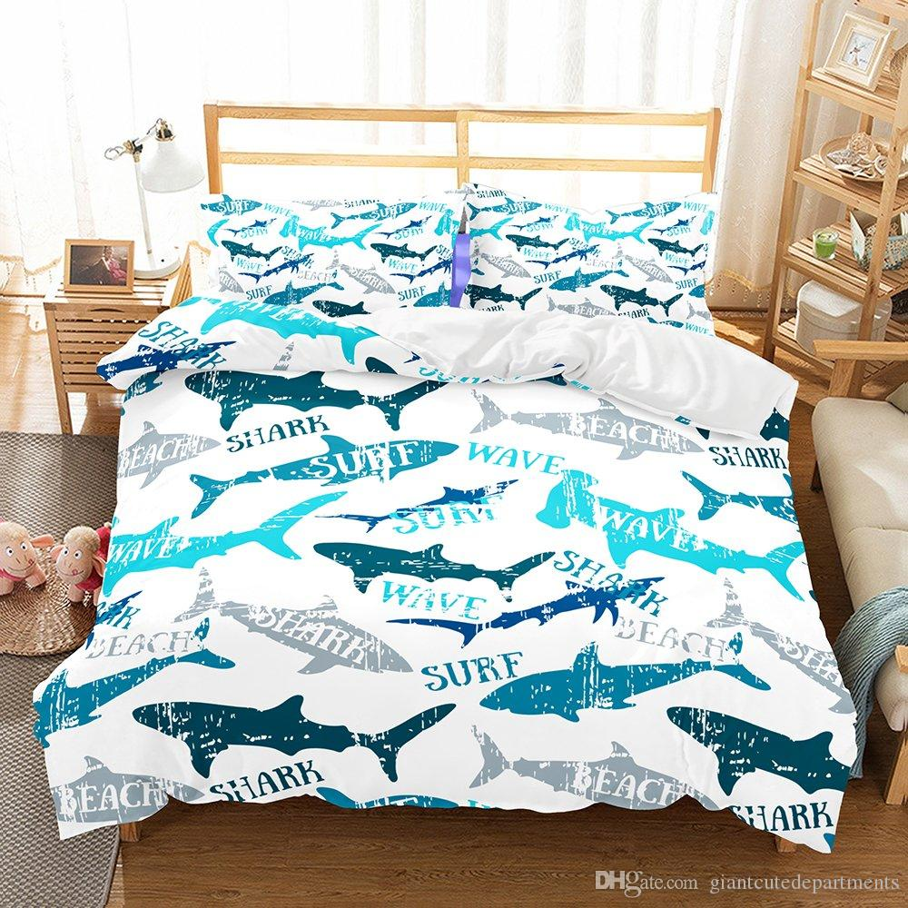 Acheter Surf Wave Shark Ensemble De Literie 3d Imprimer Ensemble Housse De Couette Drap De Lit Twin Full Queen King De 15 99 Du Giantcutedepartments Dhgate Com