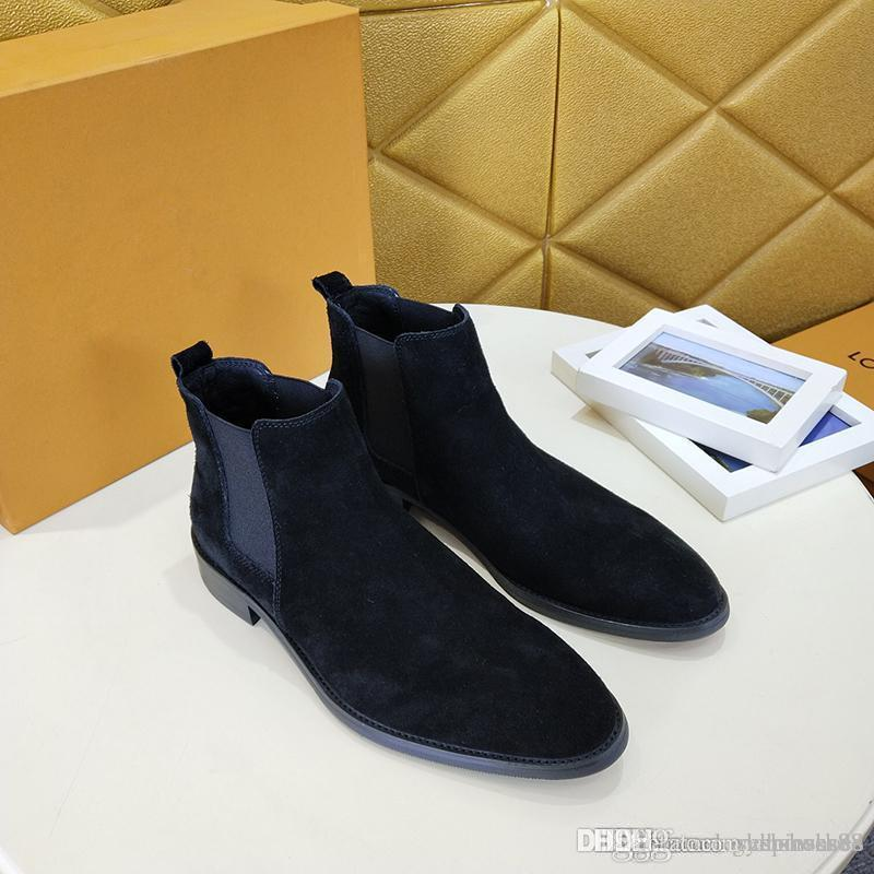 Men's shoes fashion rain boots high quality Suede leather comfortable and breathable leisure ankle boots for men With original box