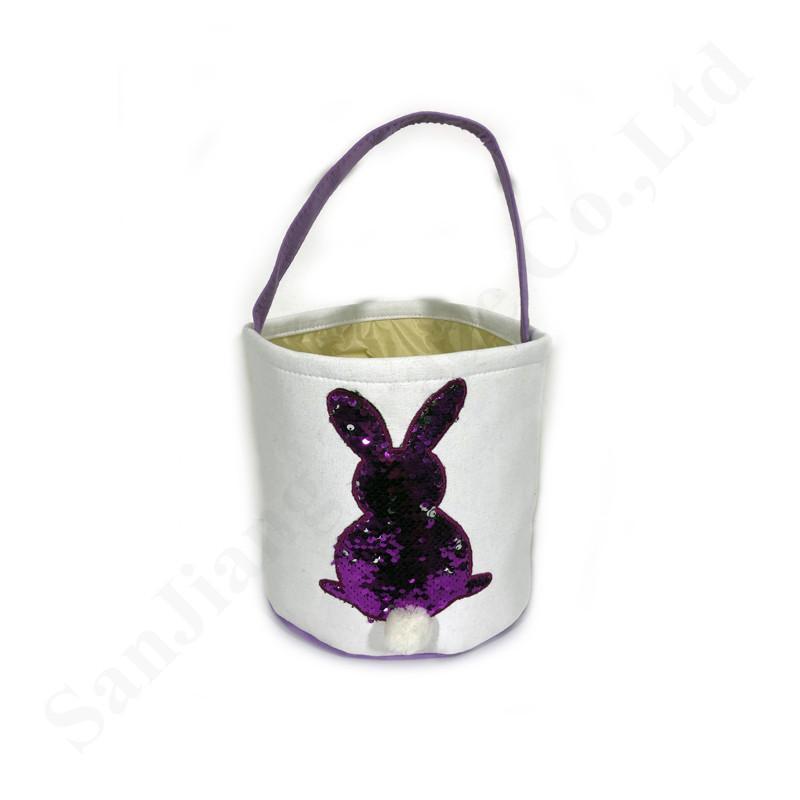 Regalos de las cestas de Pascua bordados creativo de las lentejuelas conejito Cubos de asas de los bolsos niños de bricolaje lona de los niños de caramelo Huevos cestas 23 * 25 cm A122102