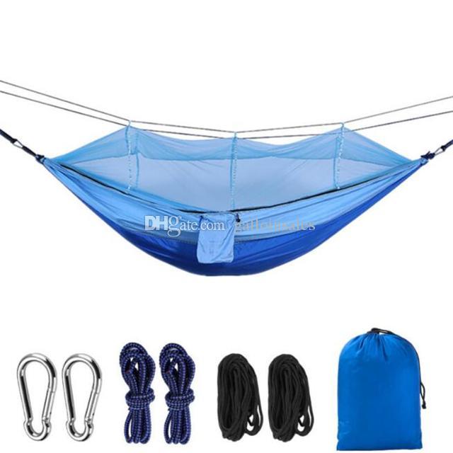 최신 패션 편리한 해먹 사람 휴대용 낙하산 패브릭 CH002를 사용 하여 실내 야외 캠핑에 대 한 모기 그물 해먹