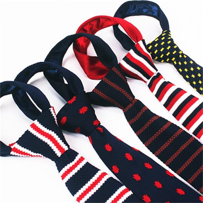 Skinny stropdassen voor mannen breien nek banden merk banden strepen print mannen nek ties jurk shirt 2 stks / partij