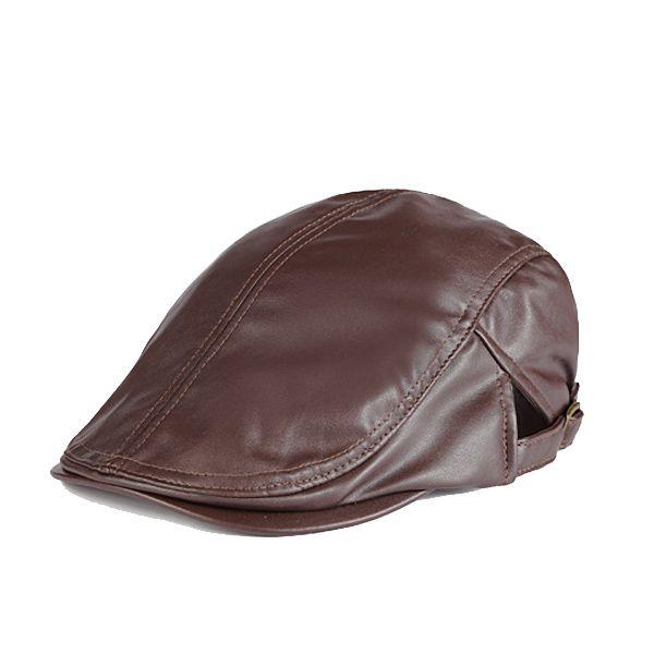 Women Men Newsboy Beret Cap Solid Genuine Leather Casquette Artist Gangster Travel Cabbie Gatsby Hat