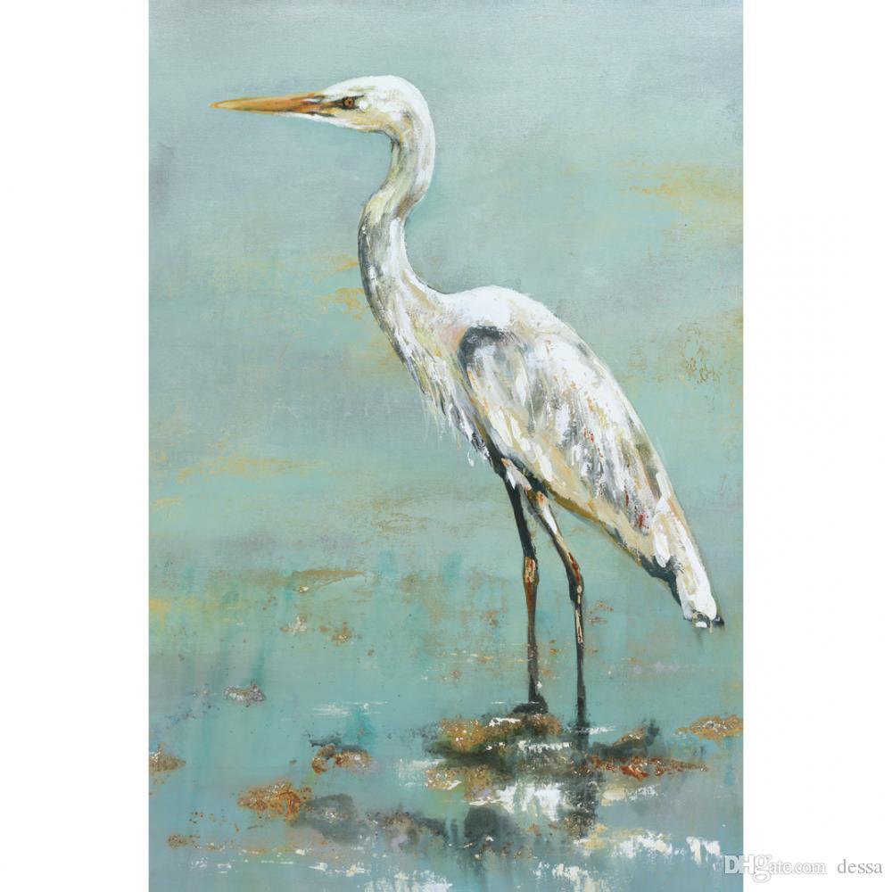 Aile odası Hand Hayvan tuval duvar sanatı Herons Modern kuş yağlı boya tablolar güzel hediye boyalı