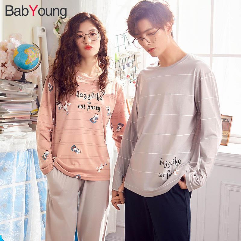 BabYoung Yeni Koreli Pijama Kadınlar Sonbahar Kış Çiftler Pamuk Seti Öğrenci Sevimli Karikatür Yuvarlak Yaka Uzun Kollu Erkek Ev Suit