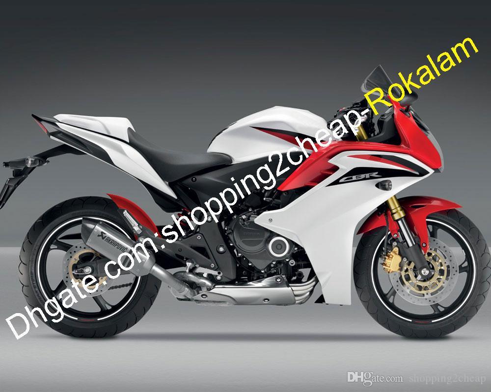 Weiß rot karosserie motorrad für honda cbr600f cbr 600f cbr 600f 2011 2012 2013 moto verkleidung kit (spritzguss)