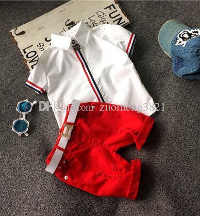2019 sommer stil kinder kleidung sets baby jungen mädchen t shirts + shorts + gürtelhose sportanzug kinder kleidung