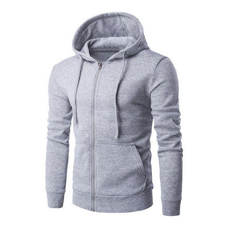PADEGAO Cep Erkekler Fermuar Sonbahar Kapüşonlular Coat Erkekler Rasgele Uzun Kollu Sweatshirt Erkek ceketler PDG1269 için Katı Kapşonlu Hırka