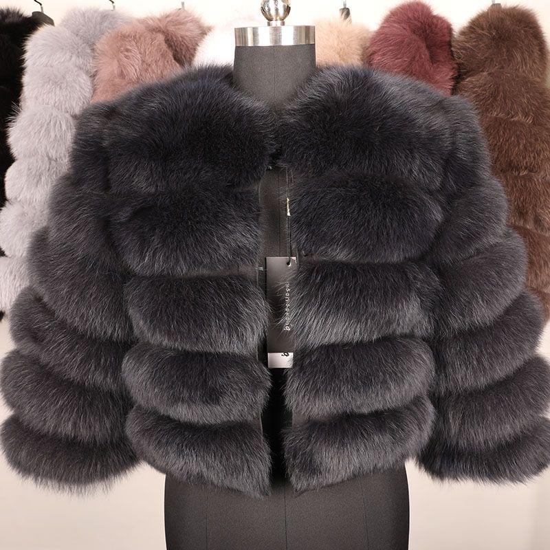 Naturel Véritable manteau de fourrure Femme hiver 50cm Veste de fourrure naturelle Veste Fashion Outwear Real Vest Coat