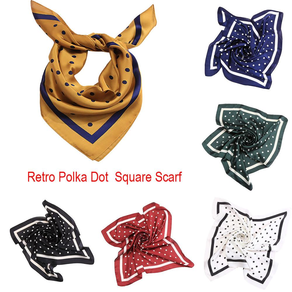 Square Scarf 2019 Fashion Silk Satin Scarf Elegant bandana Fashion Women Square Soft Wrap Retro Polka Dot Shawl Scarves