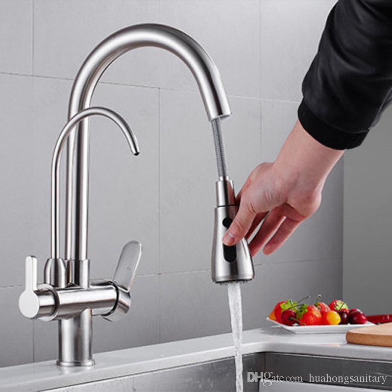 Смеситель для кухни латунь Раскладной смеситель Шарнир Питьевая вода 3 Way Фильтр для воды Очистителя для кухни Смесители для раковины разветвителей