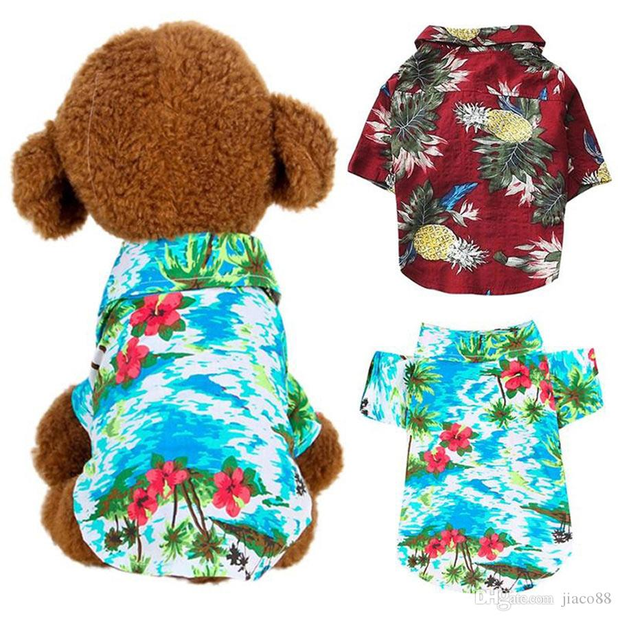 Dog Clothes Summer Beach T Shirt Small Vest Print Hawaii Apparel Pet Travel Floral Short Sleeve Clothing Cat Blouse Jumpsuit Outfit Supply