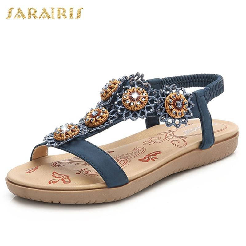 Sarairis Yeni Gelenler 2020 Dropship Gladyatör Sandalet Kadın Ayakkabı Elastik Band Karışık Kristal Rahat Ayakkabı Kadınlar Sandalet
