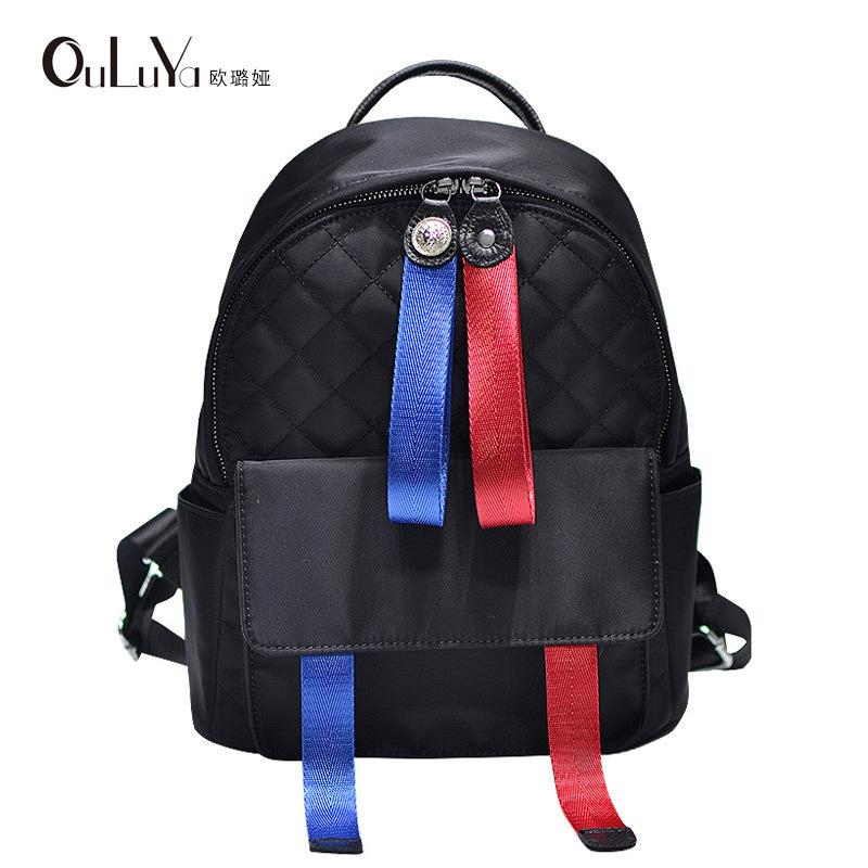 Overseas2019 Group Entity Trend Woman School Wind Diamond Lattice Coloured Ribbon Both Shoulders Package Travel Backpack Student A Bag