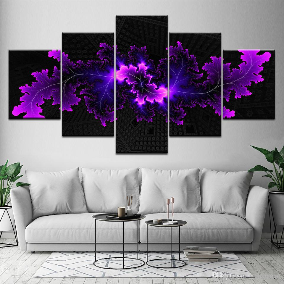 fall wall deor.htm 2020 frame 5 panel modular modern abstract flowers canvas oil  modular modern abstract flowers