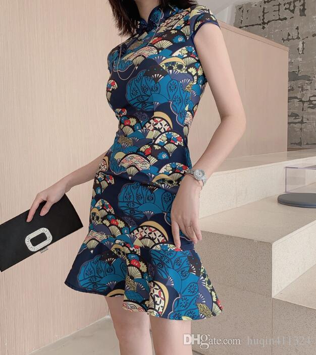 2020 cross border summer new women's elegant and atmospheric modified Chinese style short fishtail dress 1735