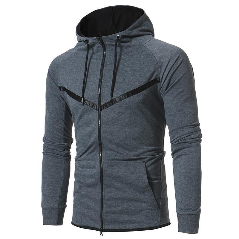 Casual Erkek Tasarımcı Hoodie Standı Yaka Katı Renk Uzun Kollu Kapşonlu Hırka Sweatshirt Yeni Erkek Açık Spor