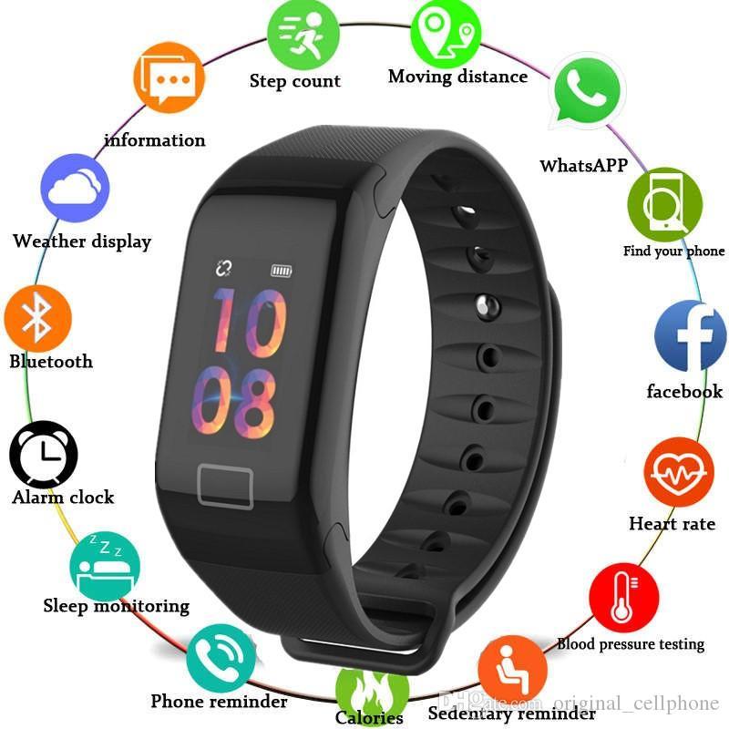 Oxygen F1 Sangue perseguidor inteligente Pulseira Heart Rate Monitor relógio inteligente da câmera à prova d'água aptidão perseguidor inteligente Relógio de pulso para o iPhone Android