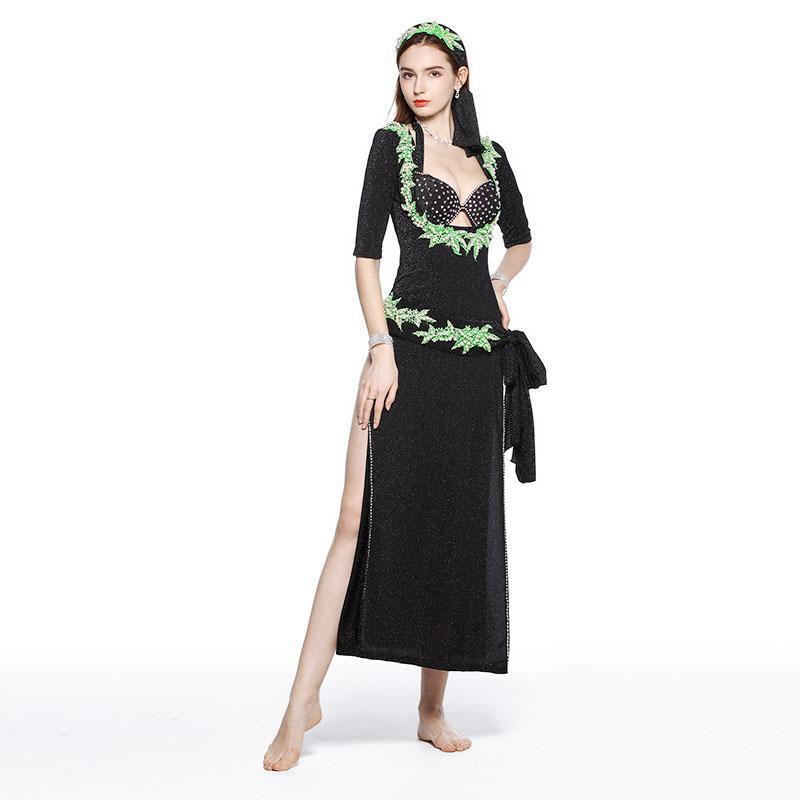 New Bellydance Clothes Baladi Dress 5 Pieces Sexy Shabbi Belly Dance Robe Oriental Dance Costume Wear For Women