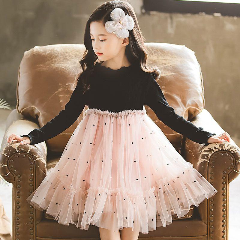 Mädchen-Prinzessin-Kleid Neue Herbst-Kind-Mädchen-Partei-Kleid Strickkleider Patchwork Voile süße Kinder Kleidung